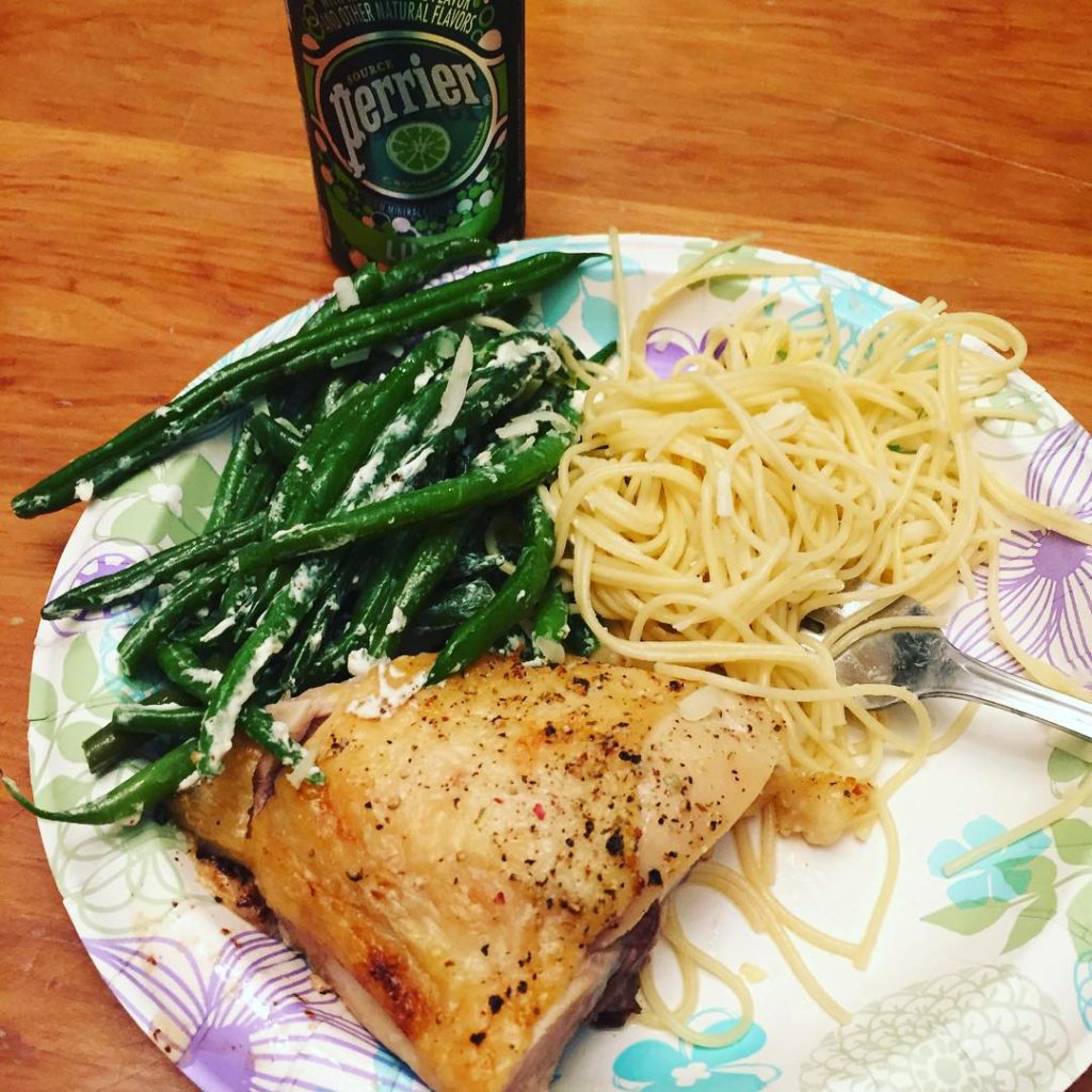 Easy dinner! Fresh green beans with olive oil and goathellip