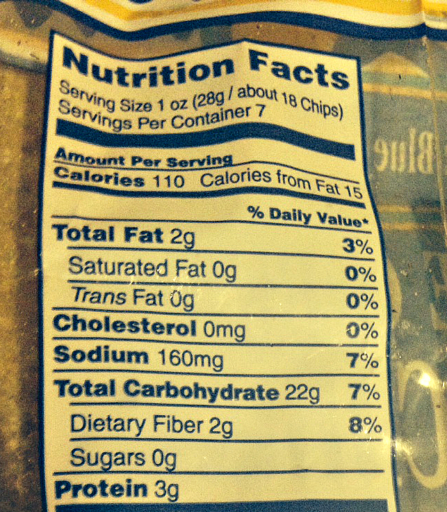 Nutrition Info Baked Chips
