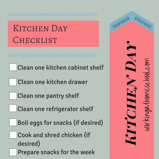 Part 4 of Every Mom's Guide to Getting Organized (Continued) Free Printable Checklist to get more done in the kitchen!