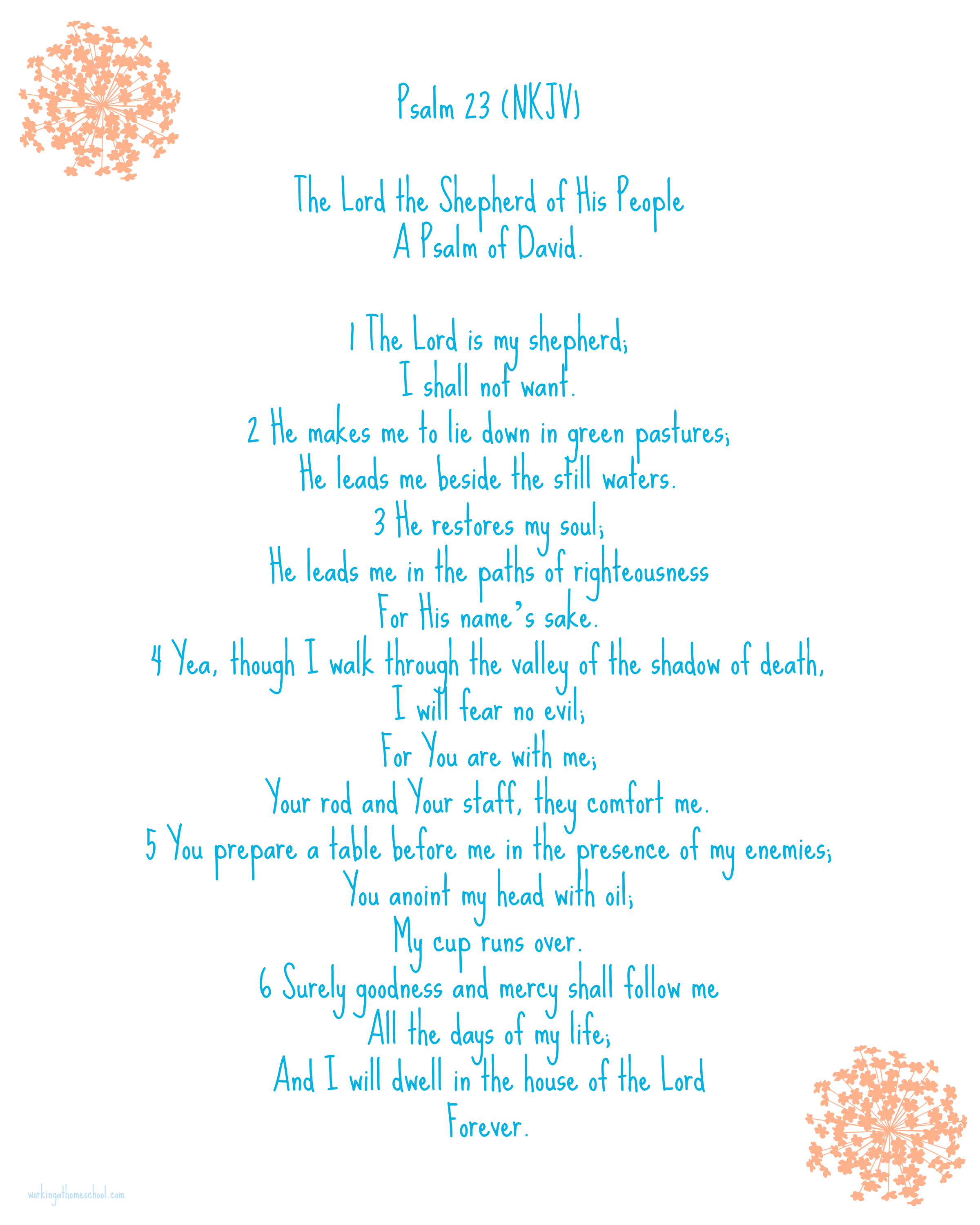 image relating to Printable 23rd Psalm called Psalm 23 Cost-free Printable - The Very well Prepared Kitchen area