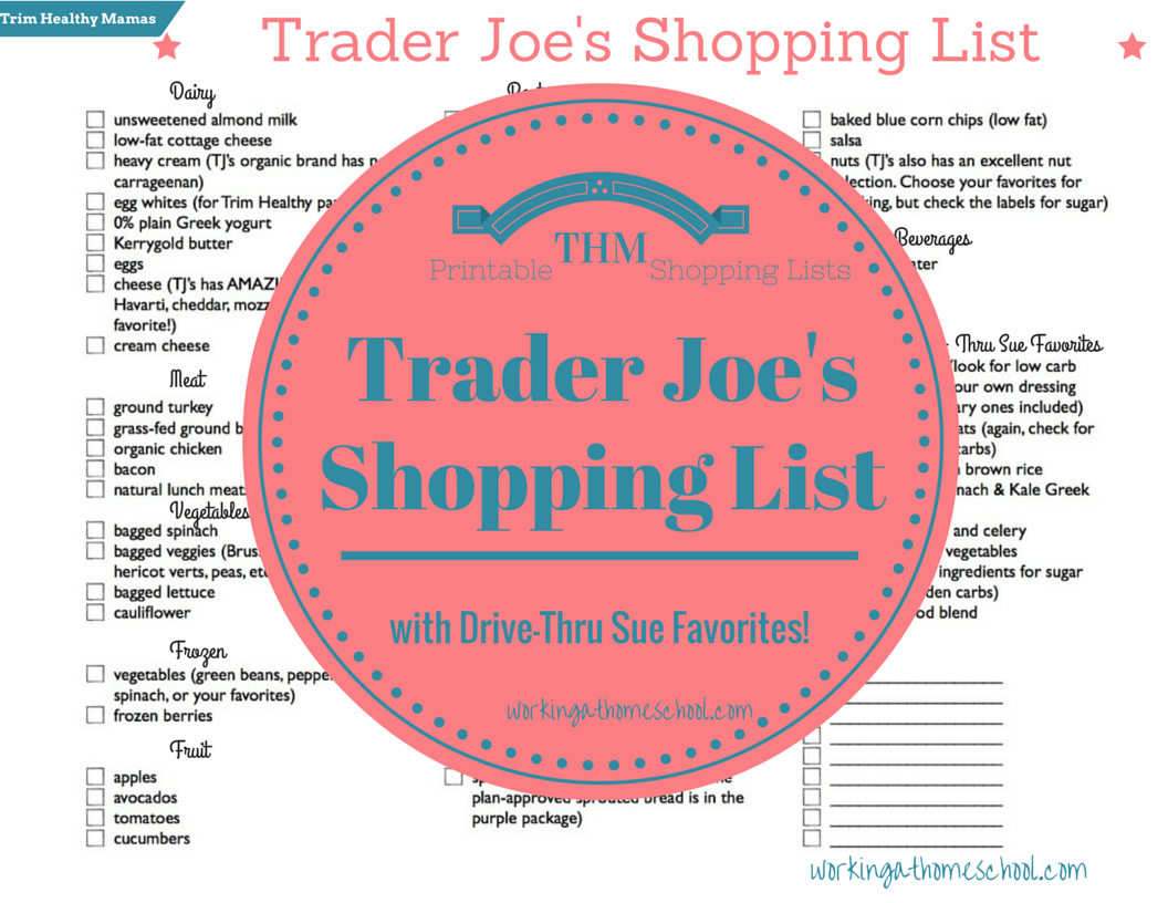 Printable Trim Healthy Mama Shopping List for Trader Joe's