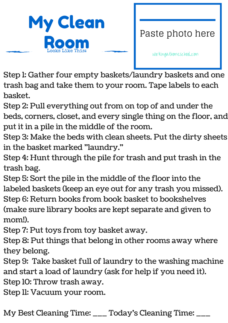 Clean Room Checklists for Kids!