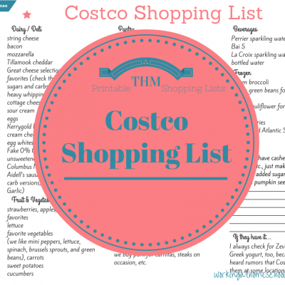 Trim Healthy Mama printable Costco list