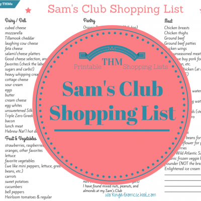 Sam's Club Shopping List for Busy THMs