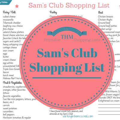 Sam's Club Shopping List for Busy THMs