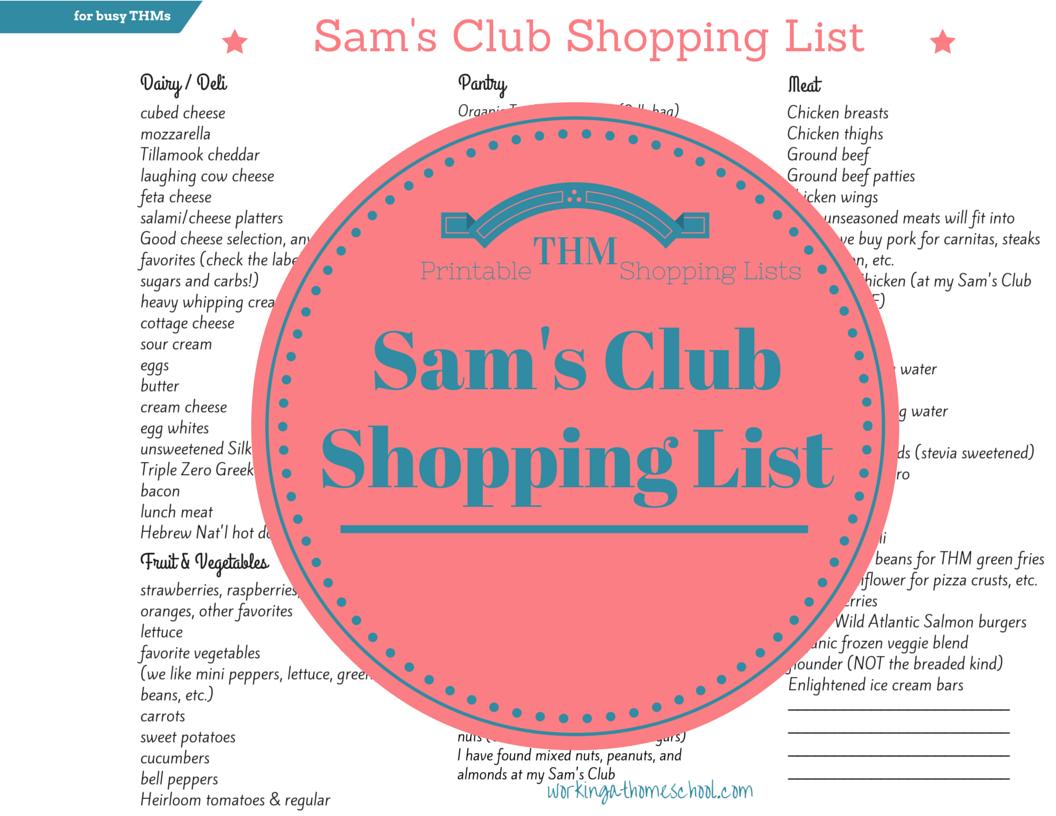 Sams Club Shopping List for Trim Healthy Mama – Shopping Lists
