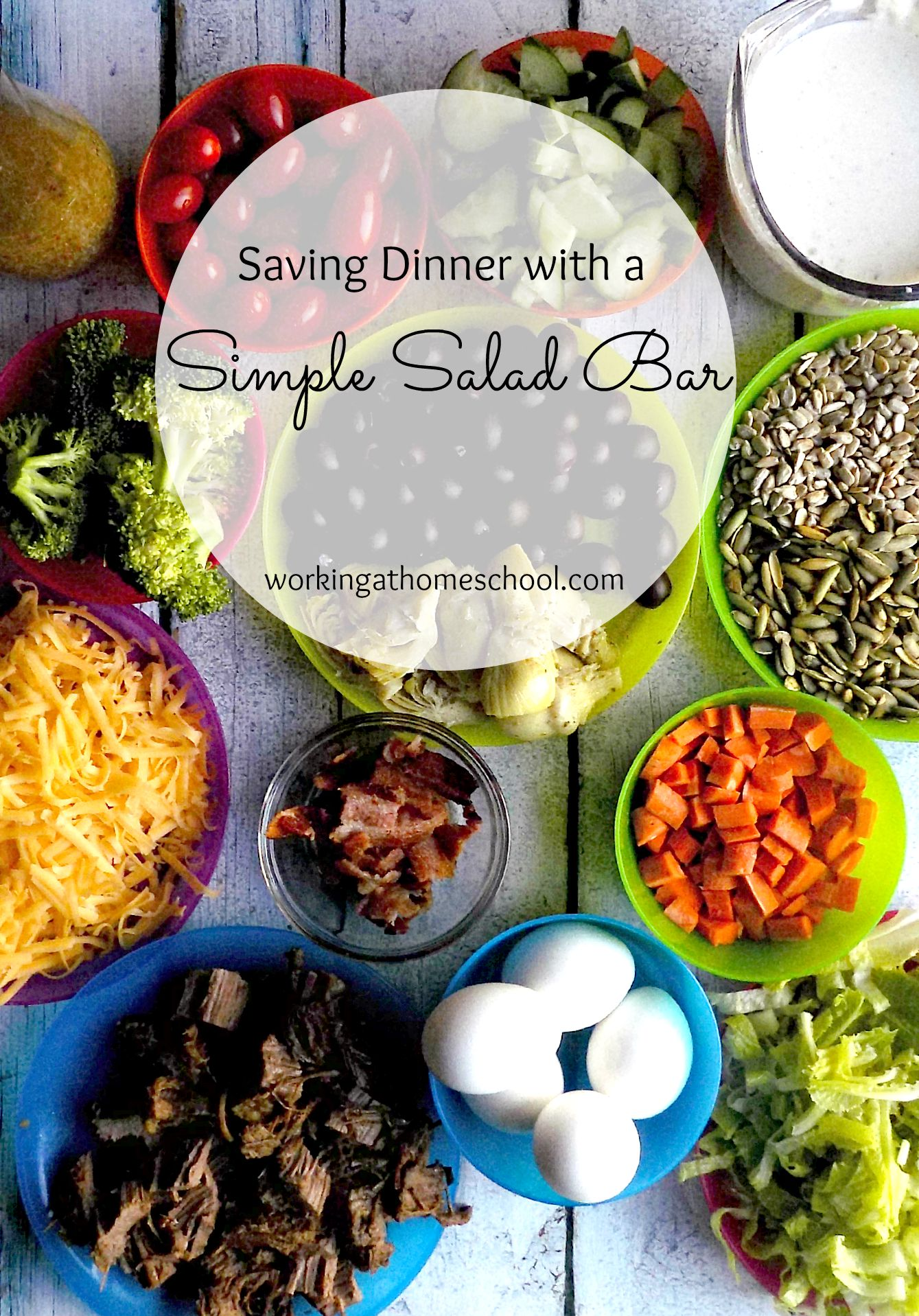 Super simple - save money by using up your leftovers on a once-a-week salad bar night!