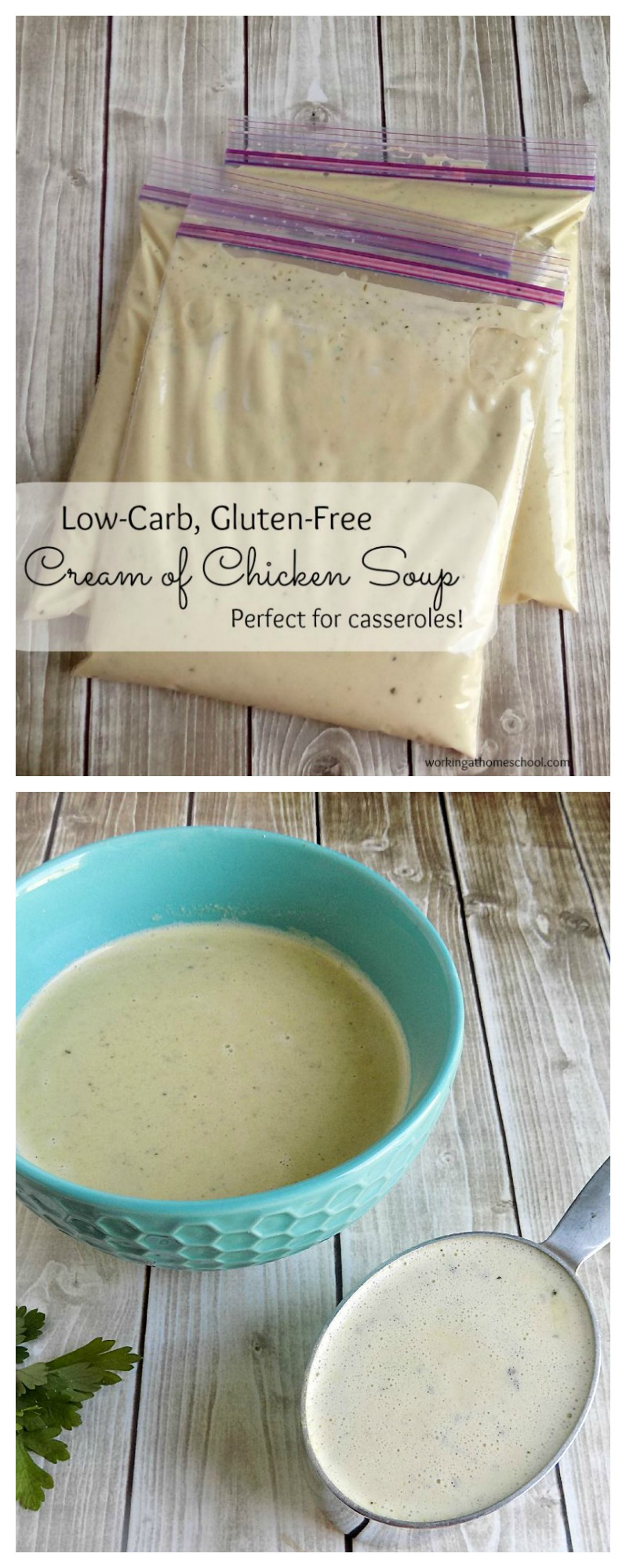 Low carb cream of chicken soup! This freezable recipe works for Trim Healthy Mama and Atkins, and it's keto-friendly too! Perfect by itself or in casseroles.