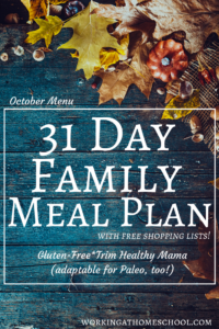 Monthly Trim Healthy Mama Meal Plan – October