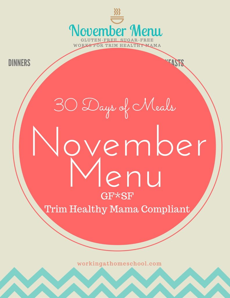 30 Days of THM Meals - full menu for November