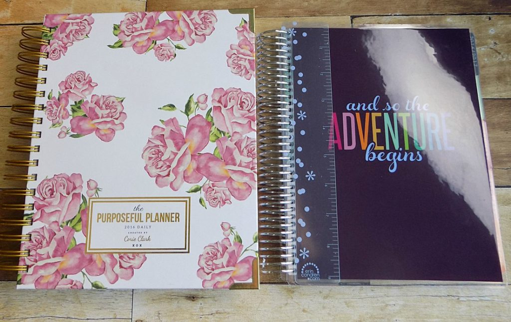 The Purposeful Planner on the left, Erin Condren Life Planner (with ready-to-ship cover) on the right