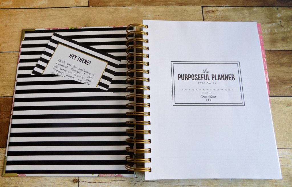 The first page of the Purposeful Planner, with a sturdy pocket in the front.