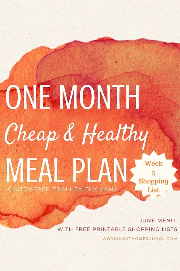 printable shopping list for FULL THM frugal menu for the month of June!