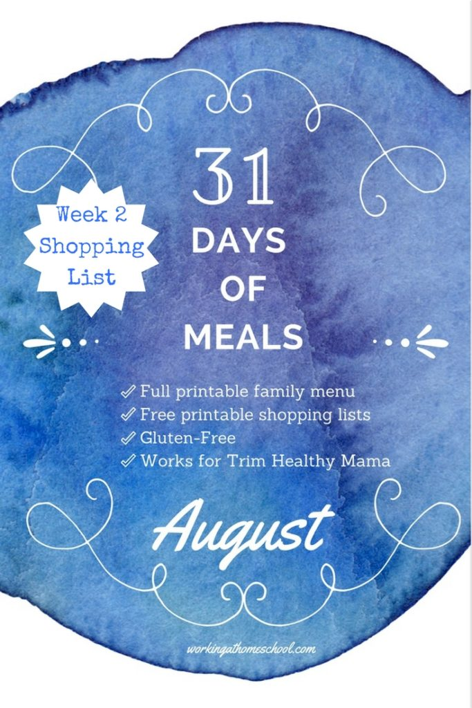 Free printable shopping list for a 31 Day Menu! THM, gluten-free, healthy!