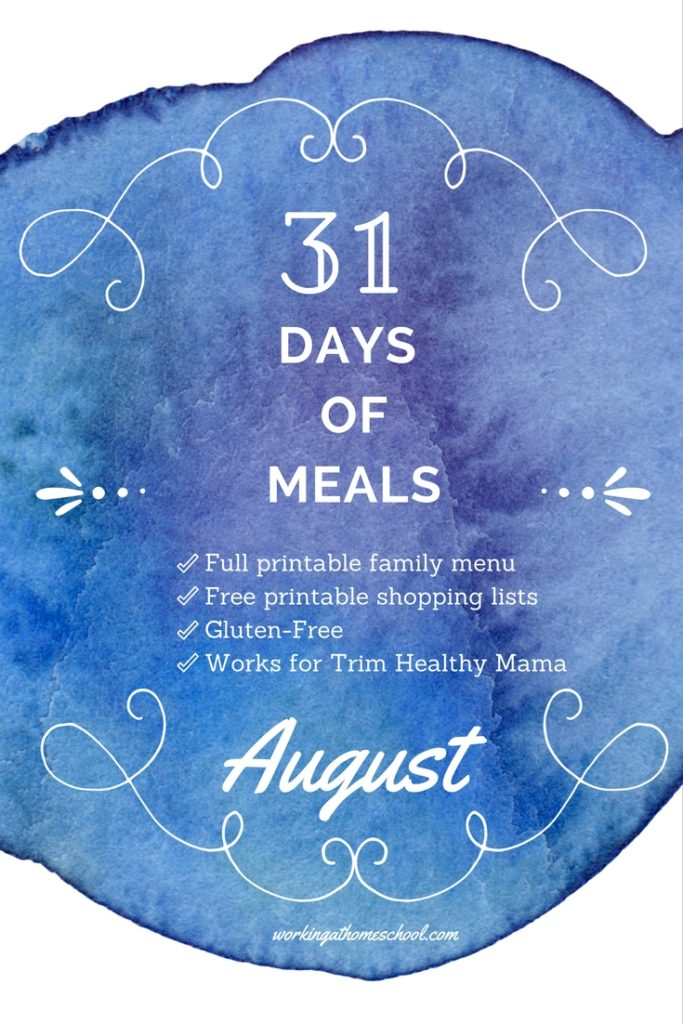Full 31 Day family menu that works for THM - with free shopping lists!
