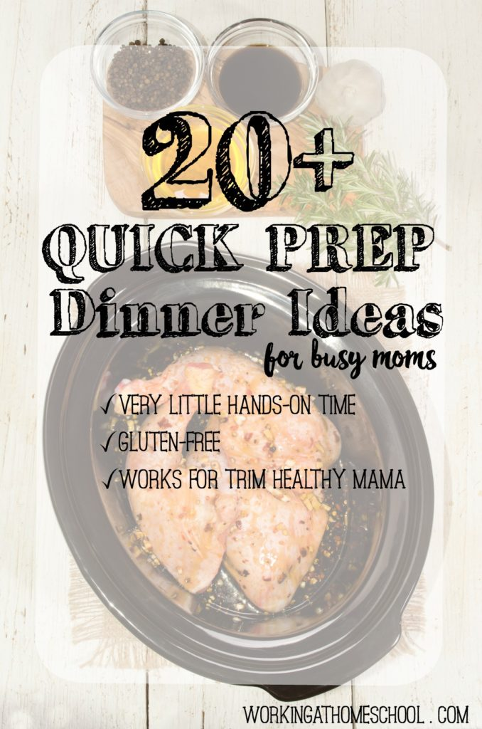 20+ Quick Prep Dinner Ideas - very little hands-on time, gluten-free, and all work for Trim Healthy Mama!