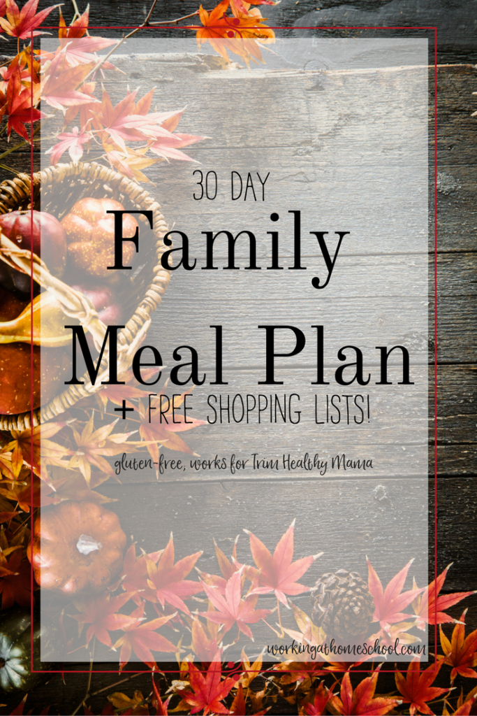 Cozy and delicious THM menu! A full 30 days of breakfasts, lunches, and dinners with free printable shopping lists. A THM Meal Plan that's gluten-free!