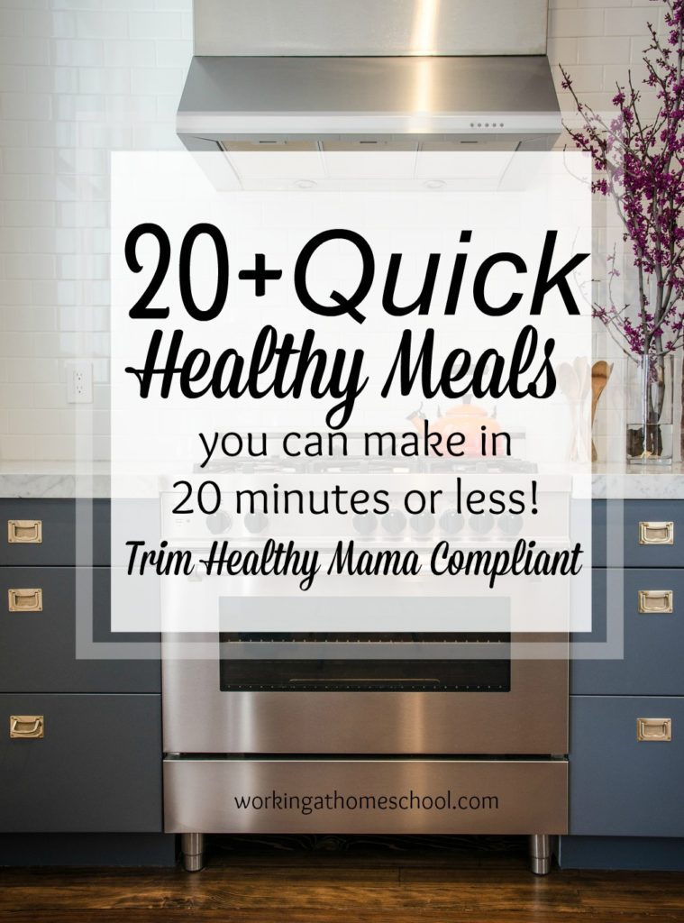 Over 20 quick, healthy dinner ideas that work for THM - these are actually FASTER than going out to drive through for dinner! Quick, healthy, and yummy!
