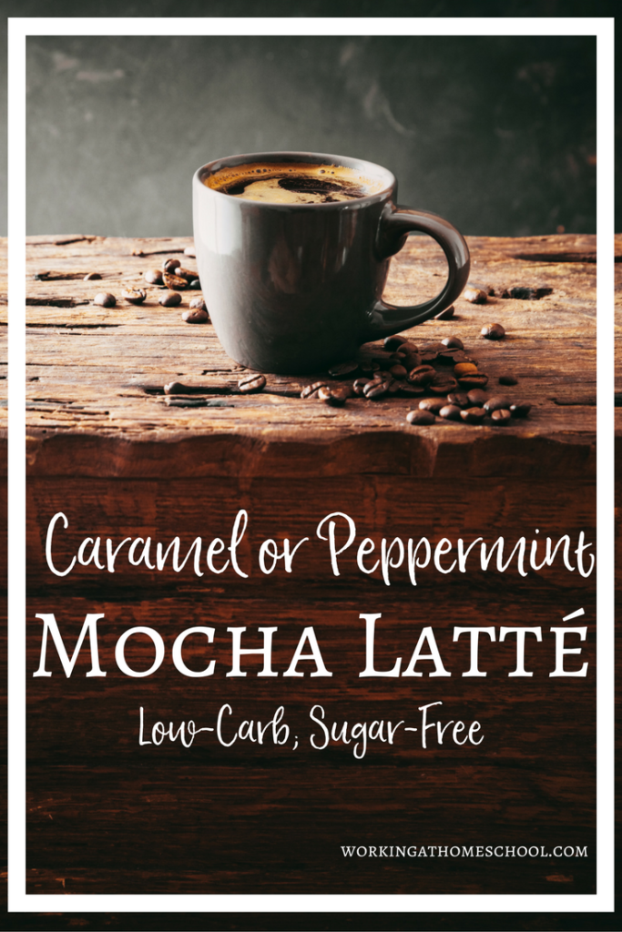 Sugar-free, dairy-free, low-carb Latté recipes! Peppermint Mocha and Caramel Mocha at home - these are SO good! Works for Trim Healthy Mama as an S.