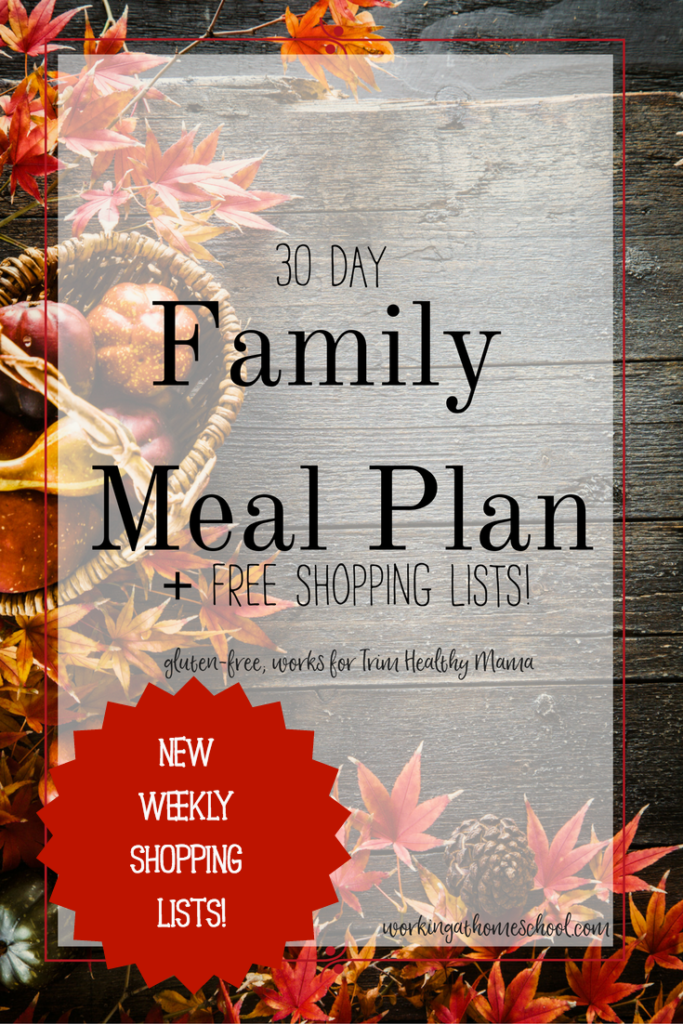 A full, healthy, gluten-free meal plan for Trim Healthy Mama! Free shopping lists, too!