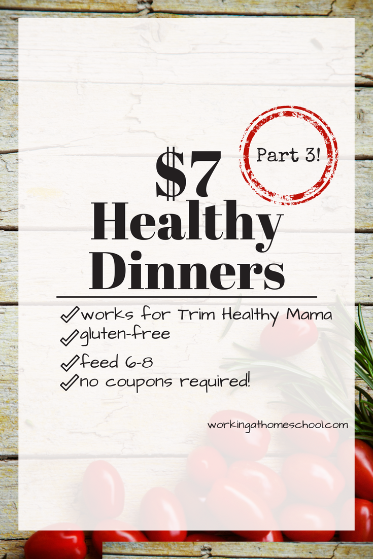 One week of $7 Dinners! This is a great list for Trim Healthy Mama! A THM meal plan with gluten-free meals, about $7 each.