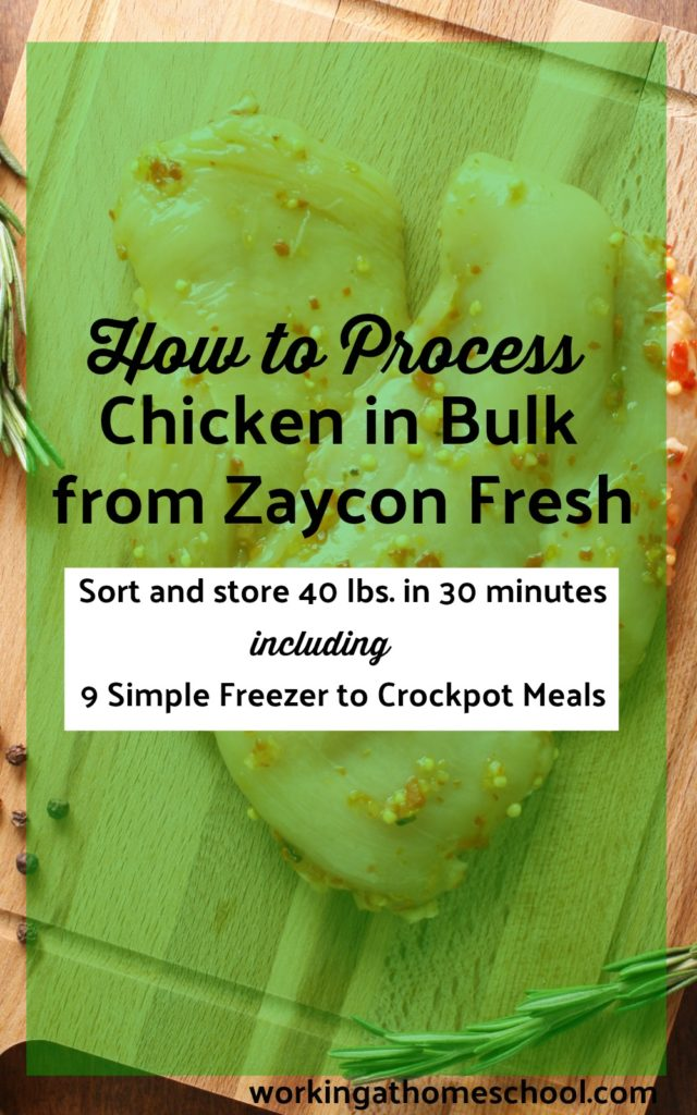 Here's a simple, easy way to process boneless skinless chicken breasts. I did 40 pounds of chicken in 30 minutes and made a bunch of quick freezer to crockpot meals, too!