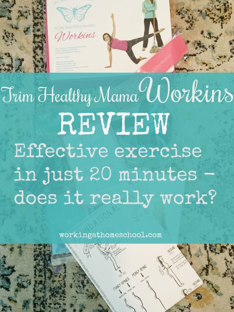 "Trim Healthy Mama's ""Workins"" program comes with everything you need to work out in 20 minutes - but does it really work? #trimhealthymama #thm #exercise #workout"