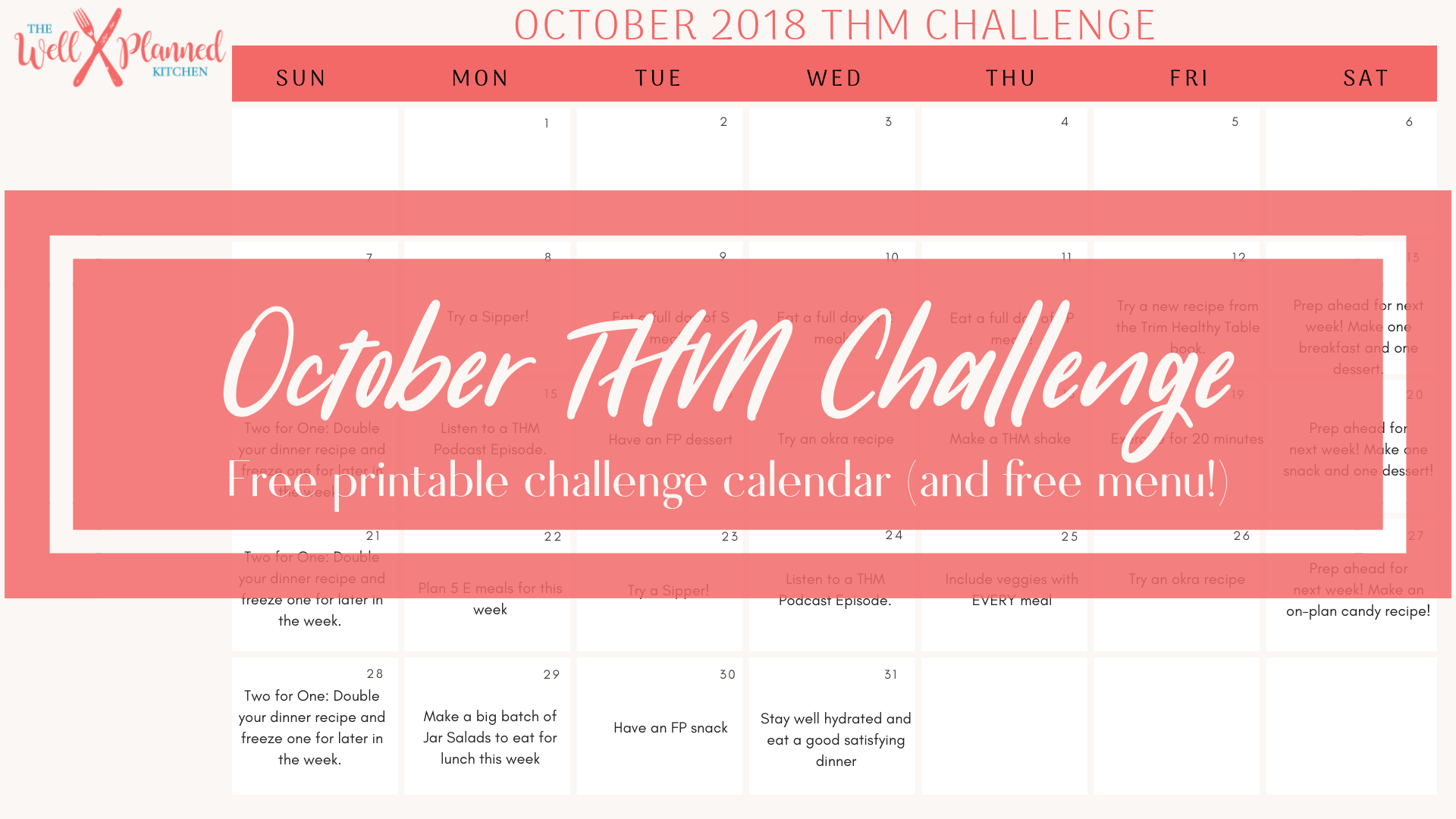 October Challenge to Get 100% on Plan!