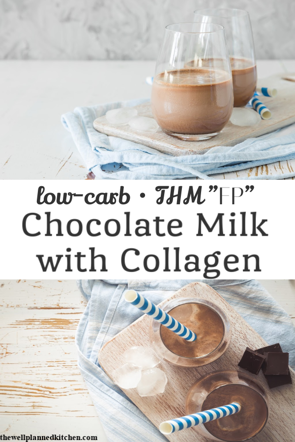 Quick, easy, low-carb chocolate milk! This version is made with collagen and it's so quick and easy I make it every day! #thm #trimhealthymama