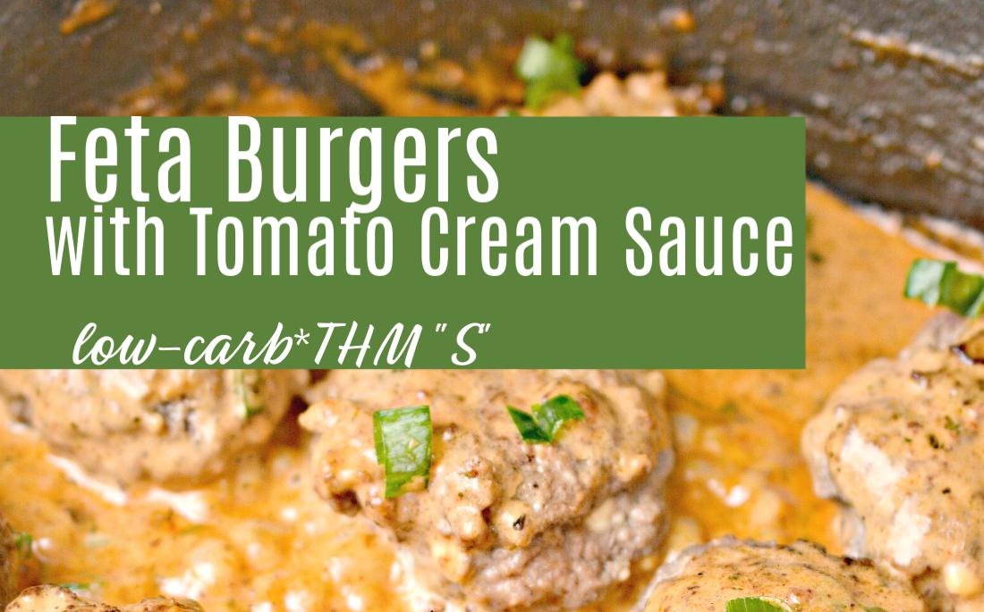 Feta Burgers with Tomato Cream Sauce