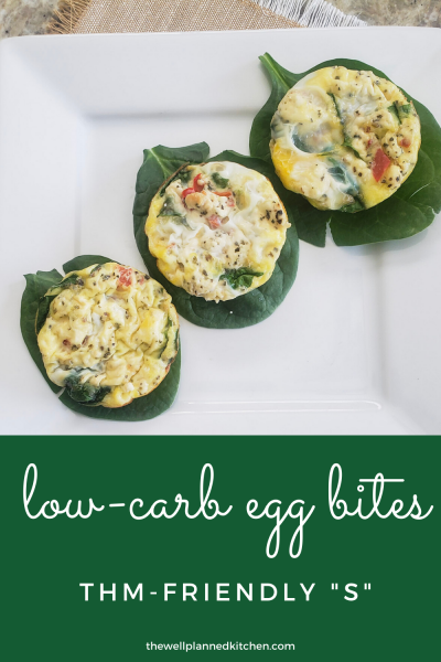 Low-Carb Egg Bites! THM-friendly, keto, Trim Healthy Mama recipe.