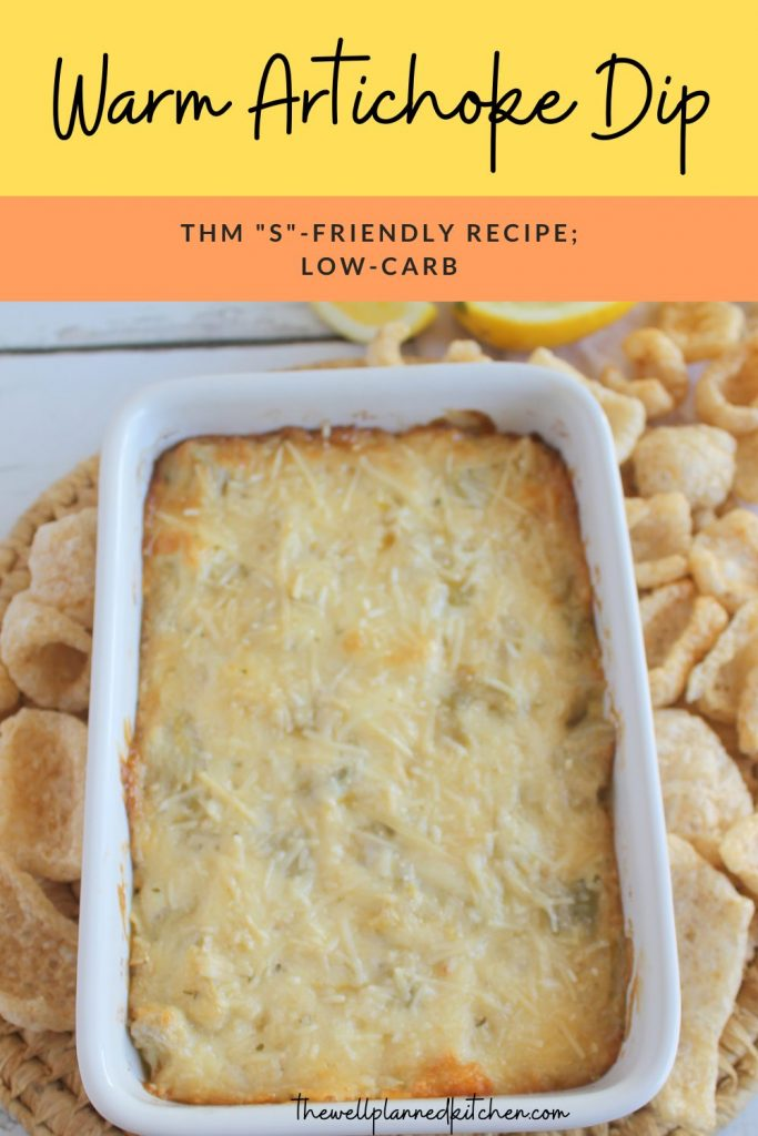 This warm artichoke dip is a creamy baked snack - perfect for game day! #thm #low-carb #trimhealthymama #healthy