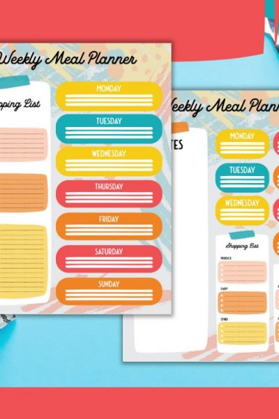 Printable weekly meal plan with shopping list!